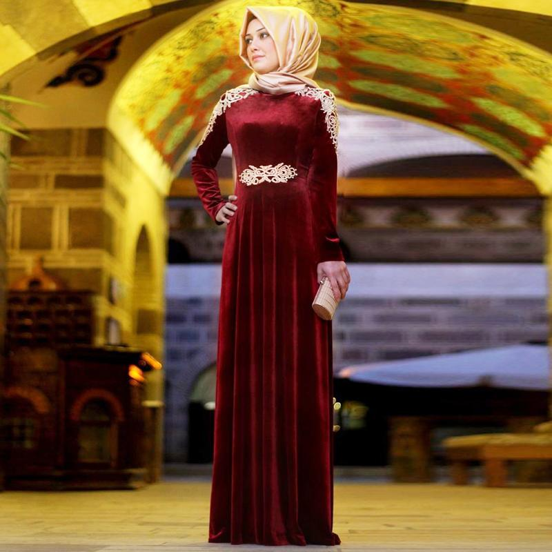 Maroon Green Arabic Evening Gowns Dresses Long Sleeves