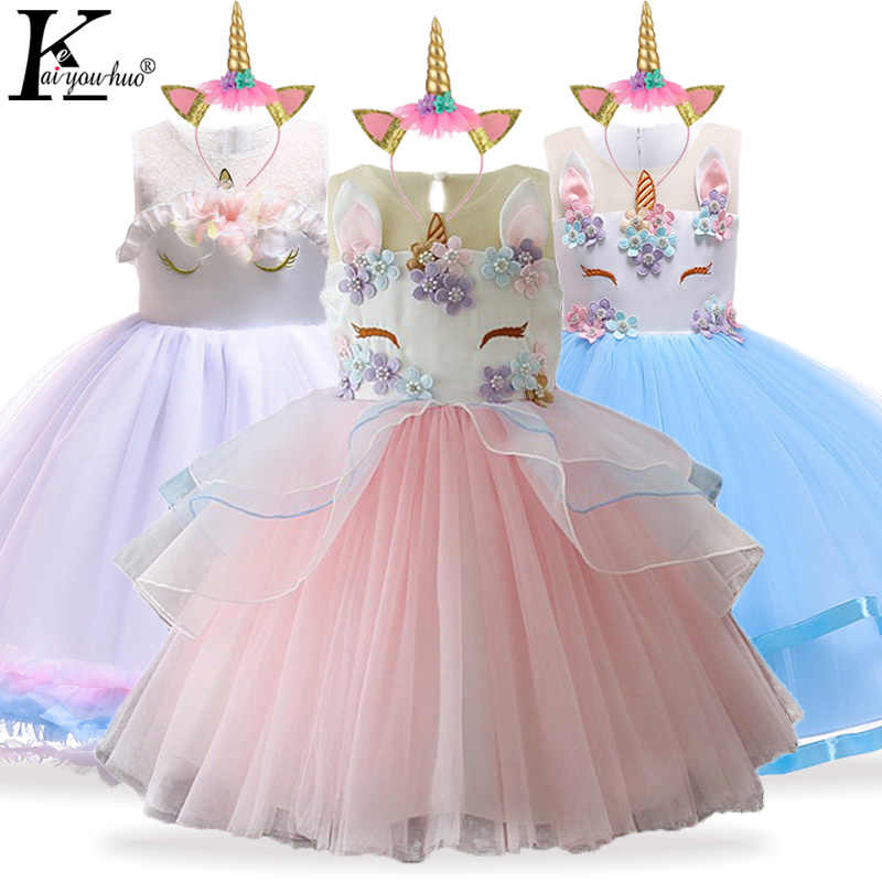 5c1b5e944bb5a Kids Dresses For Girls Unicorn Party Princess Dress Elsa Costume Child  Girls Wedding Dress Toddler Moana Dress fantasia infantil