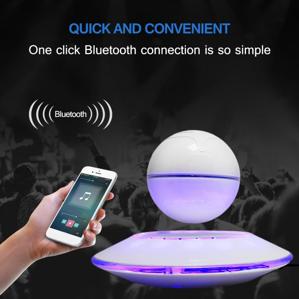 2017 LED night light Magnetic Levitation Speaker Flying Saucer Shaped Loudspeaker Portable Bluetooth Magnetic Suspension Speaker 500g magnetic levitation intelligent digital movement bluetooth speaker accessories creative gifts diy pot stereo speakers