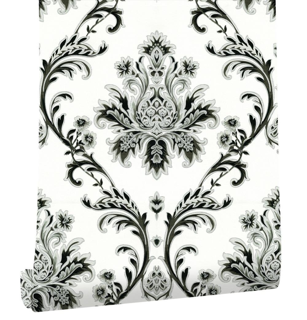 Haokhome européen Floral damassé PVC papier peint rouleau blanc/noir/argent/brun texturé salon chambre art de la maison décoration