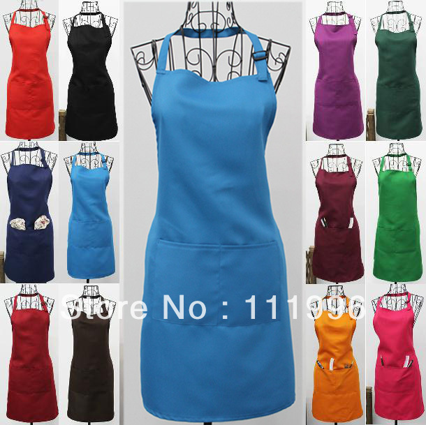 12X Free Shipping 100% Polyester Lady Chefs Cook Catering Bar Plain blue Aprons with Pocket Waiter Butcher Bib Kitchen Craft