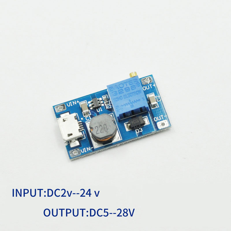 DC-DC step-up module, wide input voltage 2A booster board, 2/24V boost to 5/9/12 / 28V, adjustable 2577