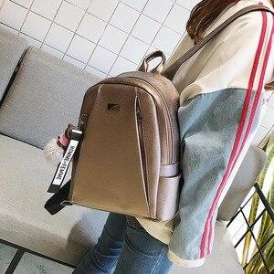 Image 2 - Модный золотой кожаный рюкзак, женская черная винтажная большая сумка для женщин, школьная сумка для девочек подростков, однотонные рюкзаки, mochila XA56H