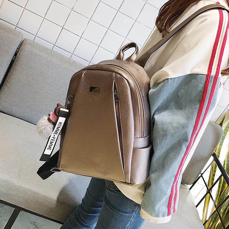 Fashion Gold Leather Backpack Women Black Vintage Large Bag For Female Teenage Girls School Bag Solid Backpacks Mochila Xa56h #2