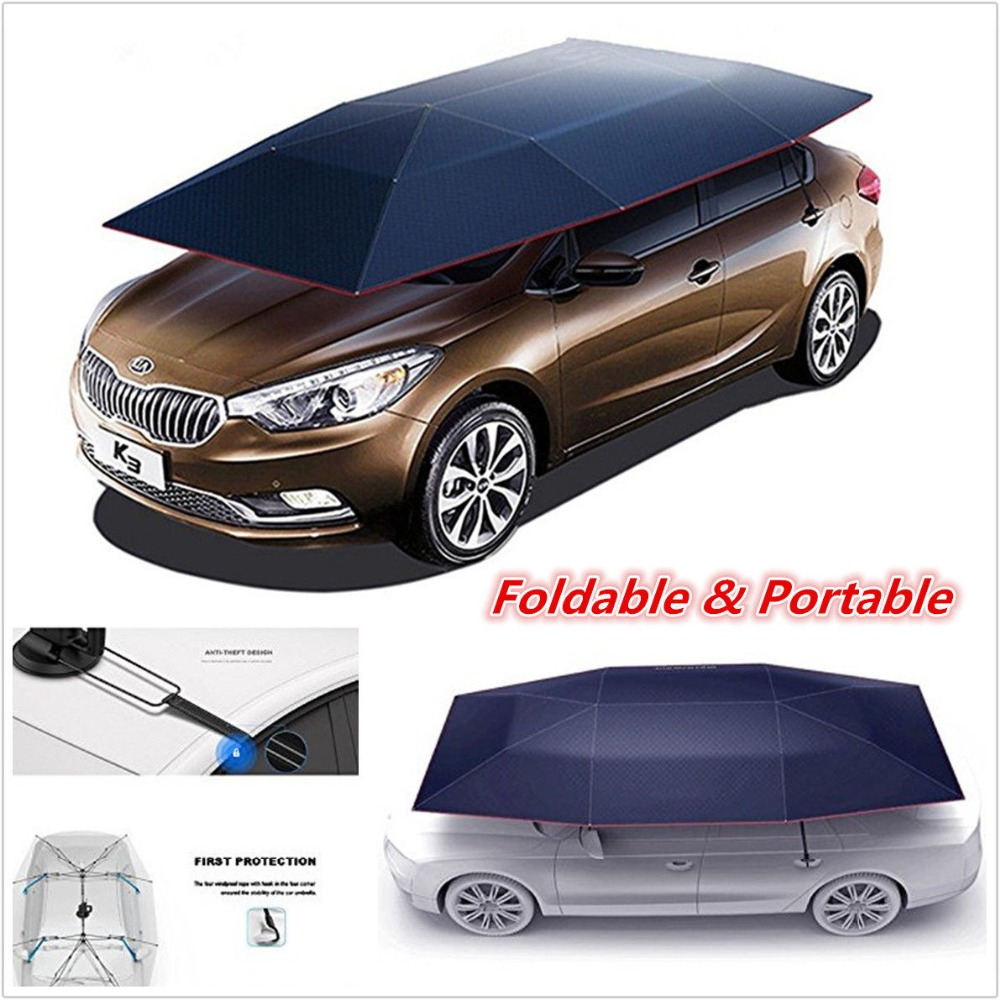 ANSHILONG Universal Automatic Outdoor Auto Car Tent Umbrella Sunshade Roof Cover UV Protection