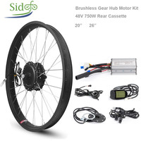 Fat Bike Conversion Kit 750W 48V Gear Brushless Hub Motor 26inch Cycling Electric Bicycle Rear wheel Snow Mobile Motor Kit