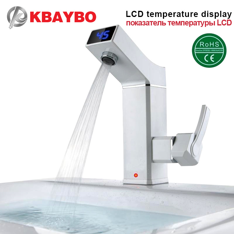 2016 Nuevo LCD grifo eléctrico calentador de agua eléctrico grifo de agua caliente eléctrica digital inteligente cocina instantánea de agua caliente 3000 W