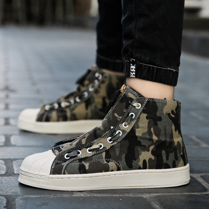 Camouflage Appartements De Hommes green glissement Mode Toile Mi Anti Gray top Gris Chaussures Marche Pour New Cool Vert IwZxw7