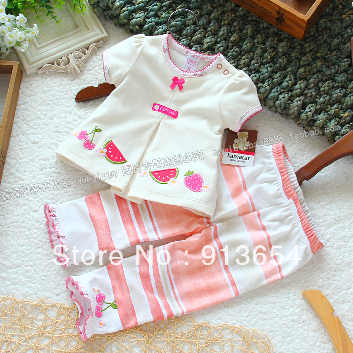 Sale 2017 new summer baby clothing sets baby girl Short sleeve t-shirts + pants 2pcs kids clothes suits