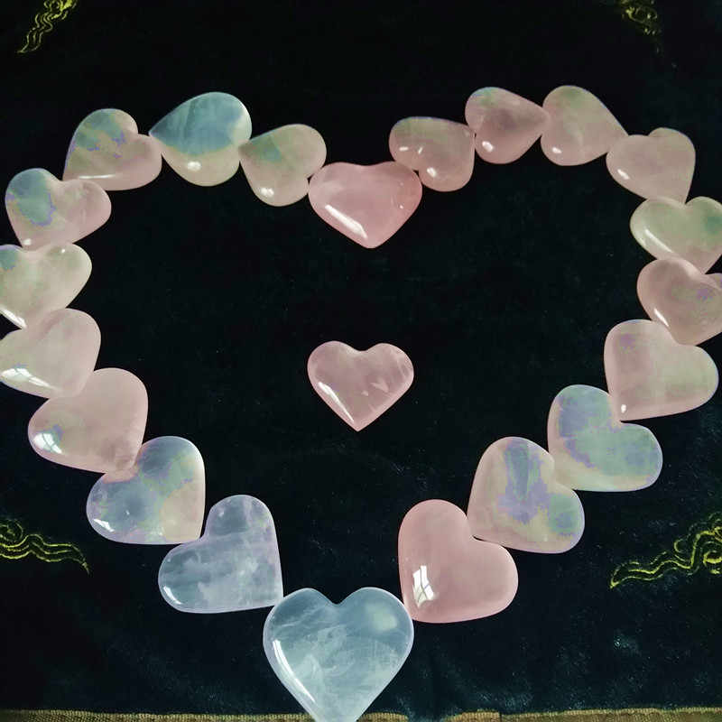 40-50mm Natural rose quartz crystal heart home decor hibiscus crystal stones and crystals healing stone heart of meditation