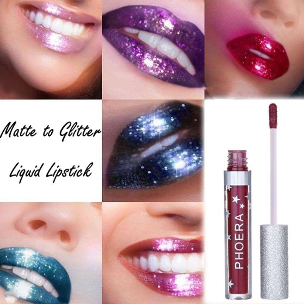 Long-lasting Shiny Glitter Liquid Lipstick Lip Gloss Women Beauty Cosmetic