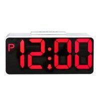 Double Modern Double USB Digital Table Clock Large LED Digital Alarm Clock Snooze Electronic Desktop Clock