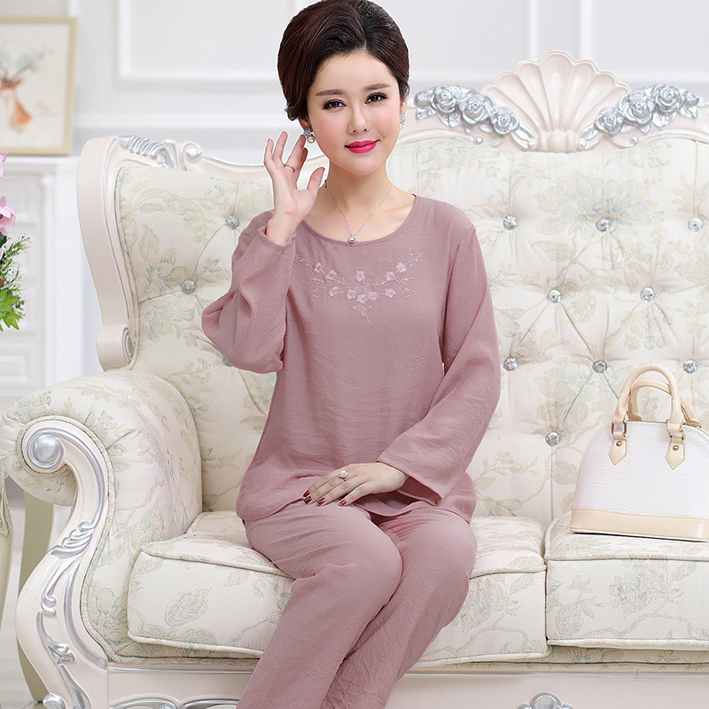 Embroidery Pink Lady Cotton Linen Pajamas Set Women 2PCS Casual Sleepwear  Long Sleeve Shirt Full Pant Nightwear Pyjama M 2XL-in Pajama Sets from  Women s ... 65d36afd0b