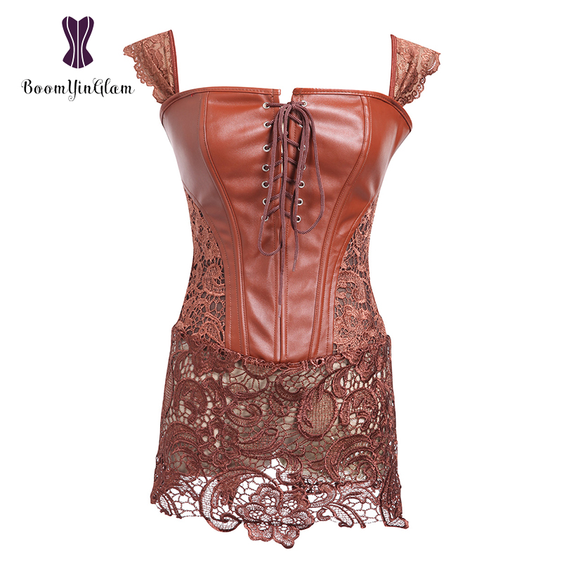 Wholesale plus size 6XL sexy   corset   clubwear body shperwear dress zip back leather gothic   corset   dress with G string 903#
