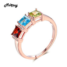 MoBuy MBRI010 3 Natural Gemstone Topaz+Garnet+Peridot Rings Resizable 925 Sterling-Silver-Jewelry Rose Gold Plated For Women