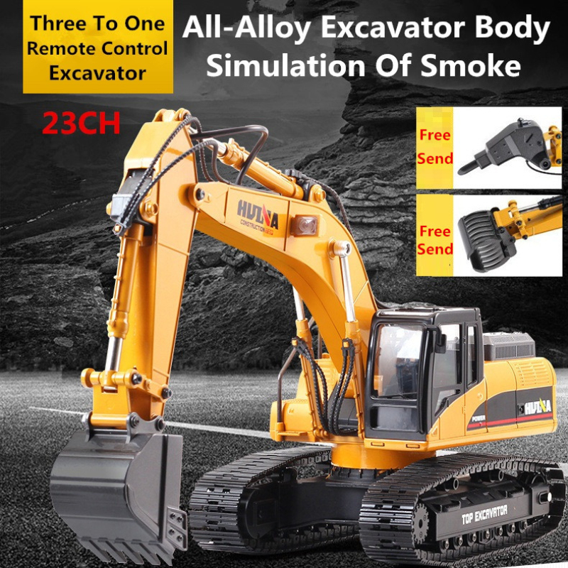 Adult Boy Toy Fully Metal Simulated excavation Machine Truck <font><b>1/14</b></font> RC Remote Control Track Excavator engineering Truck With Smoke image