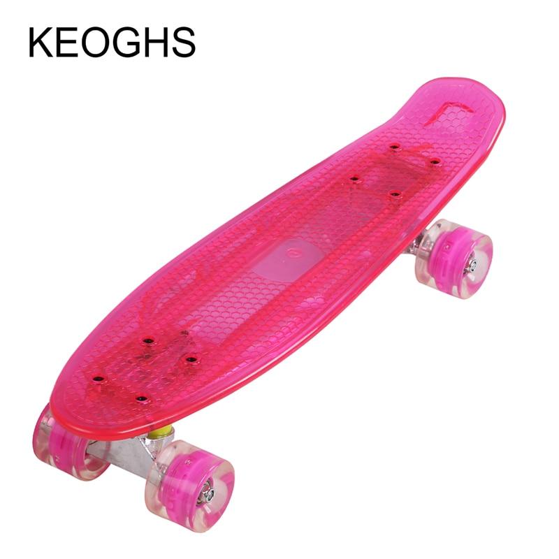 dlouhá ryba Single warp board Teenageři dospělé děti Banánový skateboard PU 4 kolečka Blikající transparentní Kulturistika