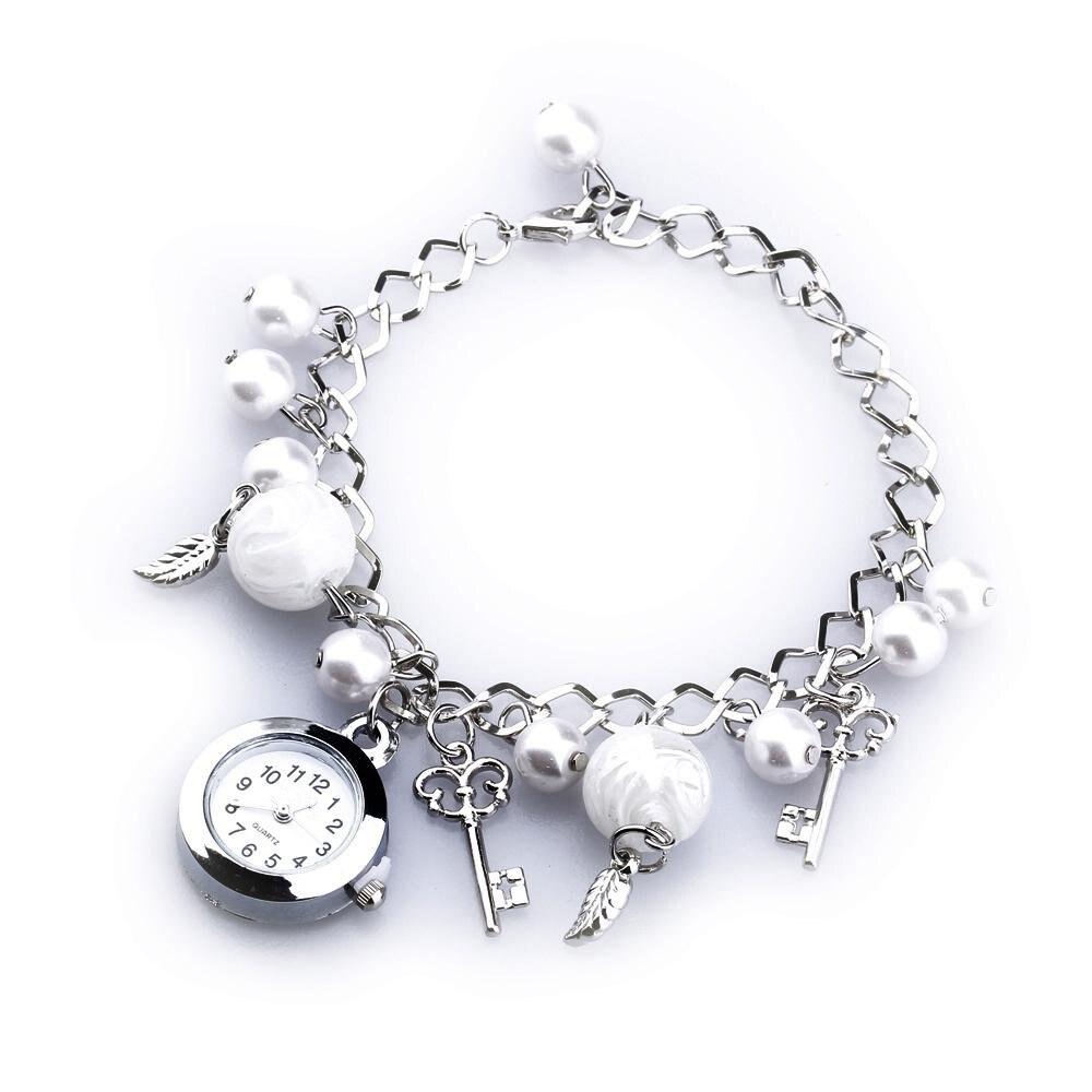 YCYS-Women Imitation Pearl Quartz Round Dial Bracelet Pendants Wrist Watch chic xinhua 701 round pink dial star shaped case bracelet watch with dots hour marks for women white