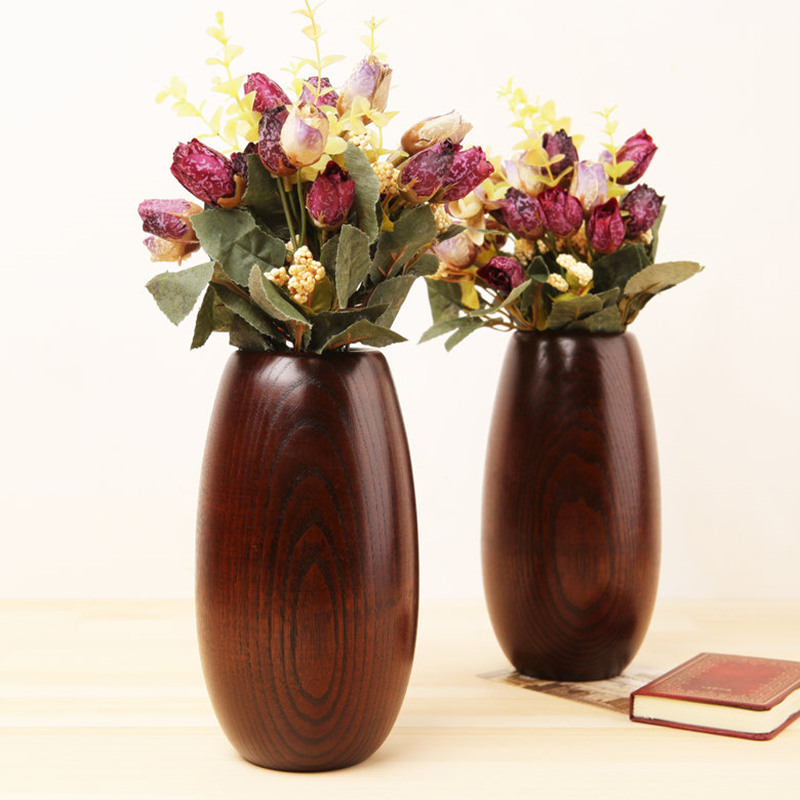 Япония Стиль массивная деревянная ваза овальная моделирование Флауэ Вазер ретро украшения цветок Главная/офис/партия/Бар Декор подарок на ...