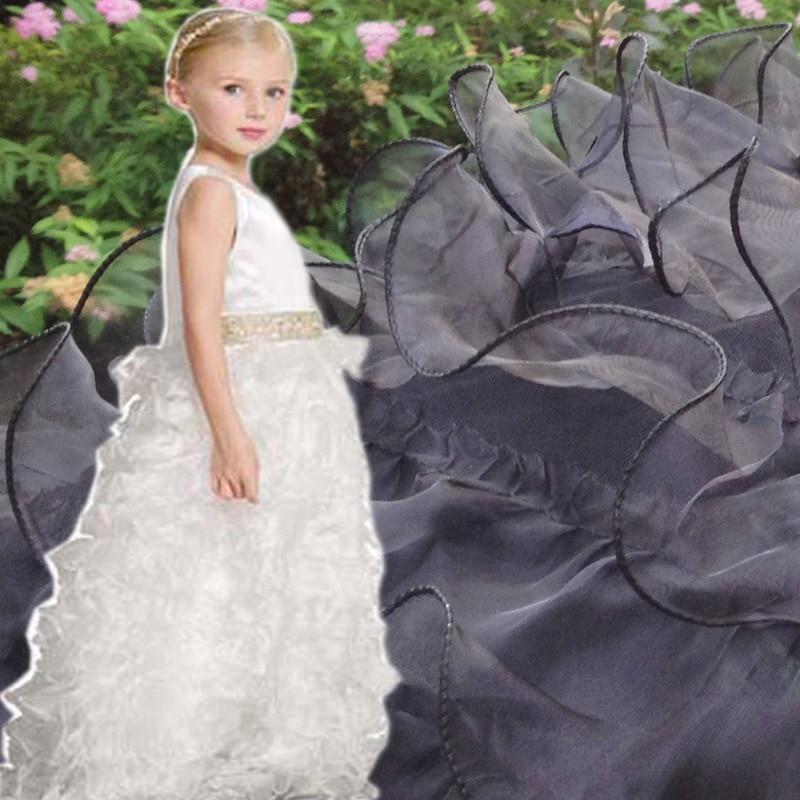 1Yard Diy Органза рюшами мереживна тканина для весільного плаття, ширина 130 см, африканська біла тканинна спідниця клаптик Diy швейна тканина