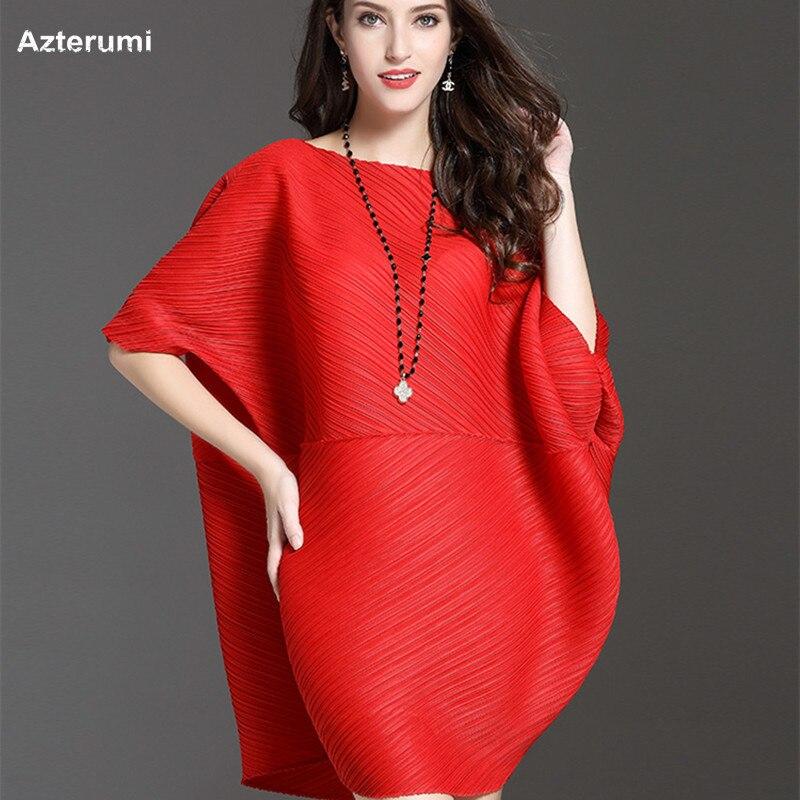 Azterumi Summer New 2019 Women Batwing Sleeve Round Neck Pleated Dress Elegant Large Size Loose Dresses