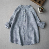 Spring Autumn Women Casual Brief All match Loose Plus Size Japanese Style Comfortable Water Washed Linen Shirts/Blouses