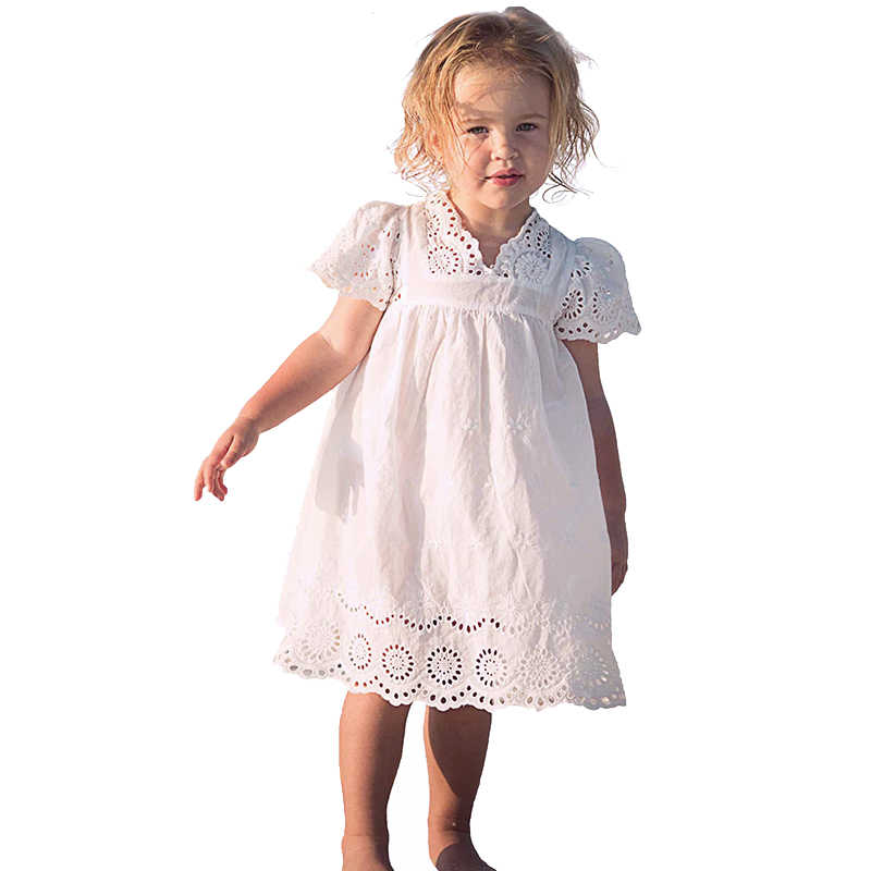 1c862f16a7 3-10 Years Baby Girls Dress For Kids Summer New Arrival Children Clothes  White Lace