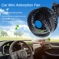 12V 6W Mini Electric Car Fan Low Noise Car Air Conditioner 360 Degree Rotating Adjustable Car Fan Air Cooling Fan for Summer