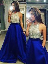 Royal Blue Prom Dresses 2019 A Line Sleeveless Halter Neck Floor Length Elegant Long Crystal Backless Satin Formal Evening Gowns недорго, оригинальная цена