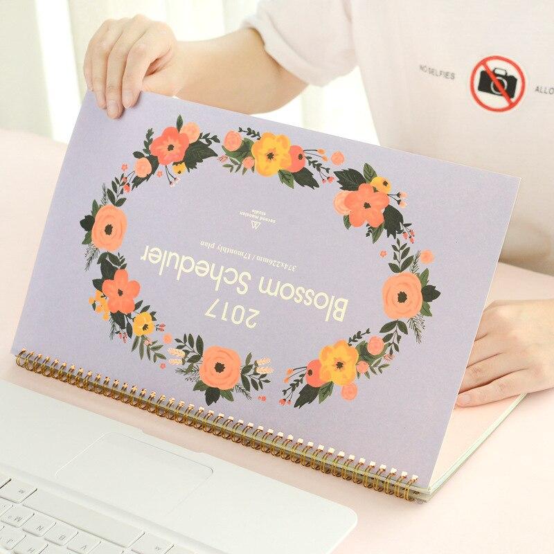 סדר יום 2017 לוחות שנה שולחן כפרי קוריאני פרח דמוי נייר מתכנן חודשי להדפיס מדי יום מארגן שולחן חמוד משרד לוח זמנים