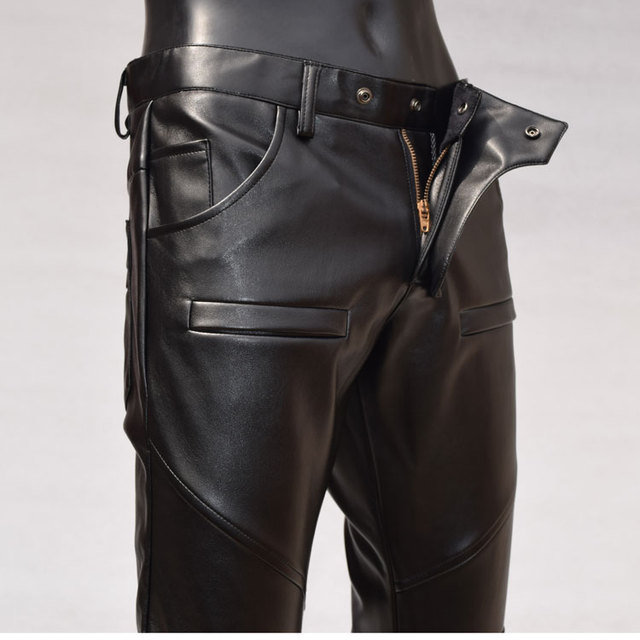 Personality motorcycle faux leather pants men casual trousers pu feet pants for men fashion slim tight-fitting pantalon homme 1
