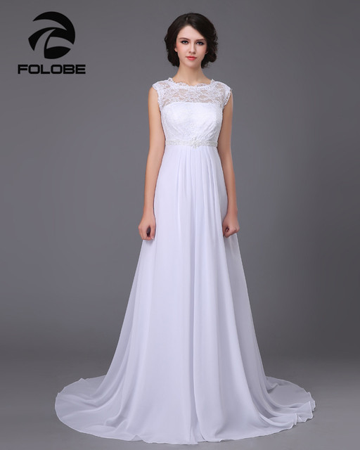 2017 Vestido De Noiva Stock White/Ivory Sheer Neck Beading Lace Chiffon Beach Wedding Dresses Robe Mariee Open Back Bridal Gowns