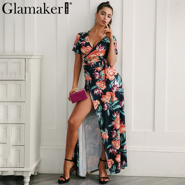 Glamaker floral Dress Glamaker Floral summer dress women high slit long dress Printed maxi beach  dress female Crop top