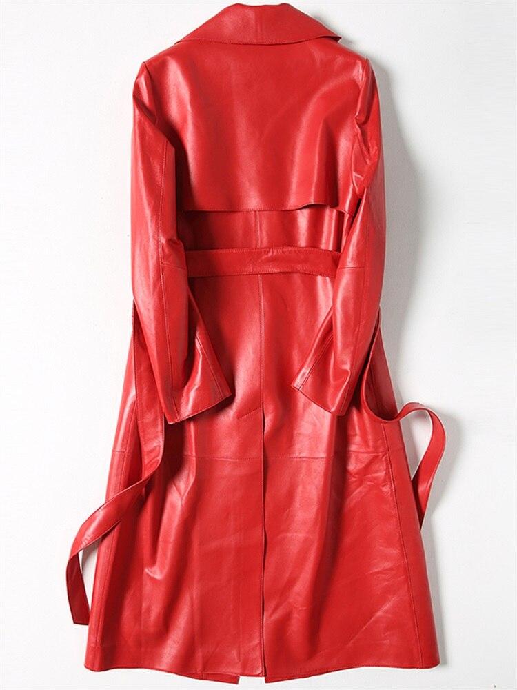 Ceinture Parka 100 Veste Rouge Couro Mouton Black Avec En Peau Véritable Cuir Femmes Survêtement Lx2536 Femme Réel De Manteau red Jaqueta Longue qwqZx7BC