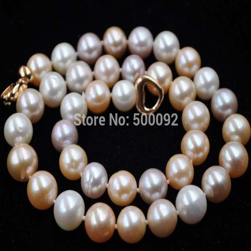 Natural 10-11mm near round white pink purple freshwater pearl necklace 16 inches aa 10 11mm natural white round freshwater pearl loos strand