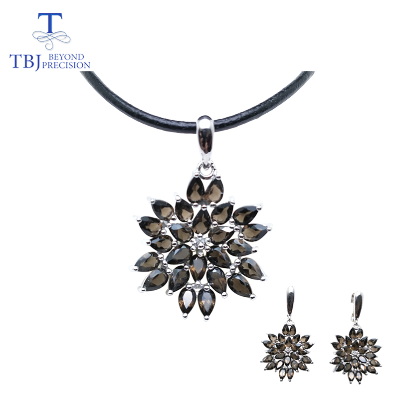 TBJ,natural smoky quartz gemstone jewelry set in 925 sterling silver nice special pendant earring for women Valentine gift box