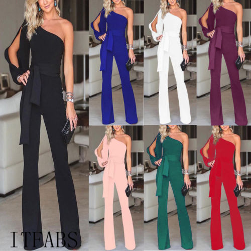 Arrival Women Summer Clubwear Playsuit Hollow Out Long Sleeve Jumpsuit Solid One Shoulder High Waist Long Trousers Pant