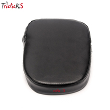 Triclick Universal Motorcycle Rear Backrest Sissy Bar Cushion Pad Pads New Black Rectangular Seat Cover paddin