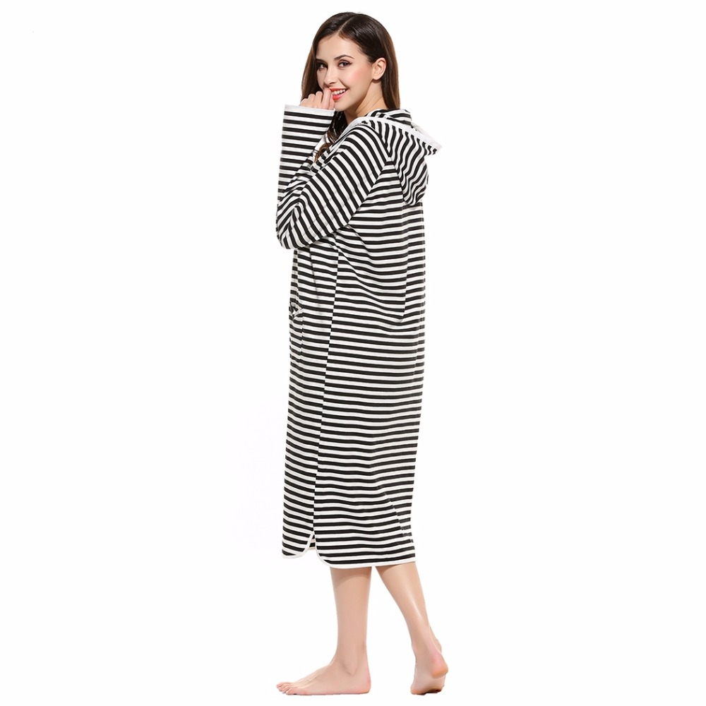 BLUETIME Striped Night Dress Hooded Long Sleeve Autumn Nightwear Home Clothes Nightgown With Pockets Nuisette 30A6