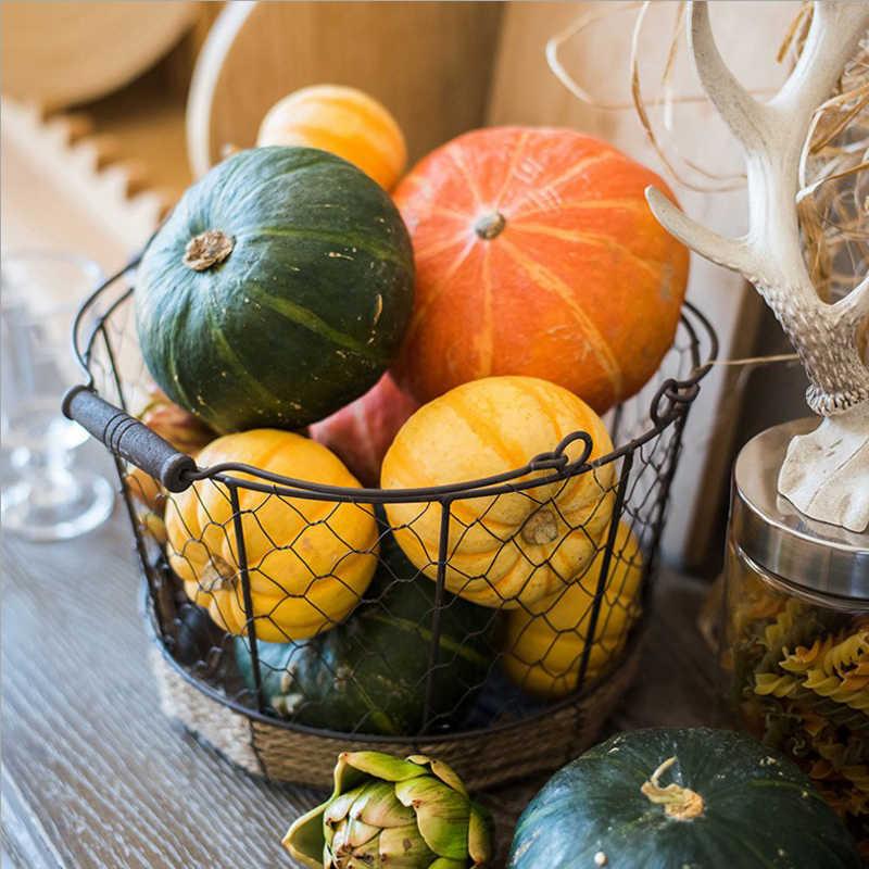 Metal Cesta do Armazenamento com Punho de Ferro ZAKKA Organizador De Armazenamento De Mesa de Luxo Elegante Decoração de Frutas Cesta de Alimentos para Cozinha de Casa