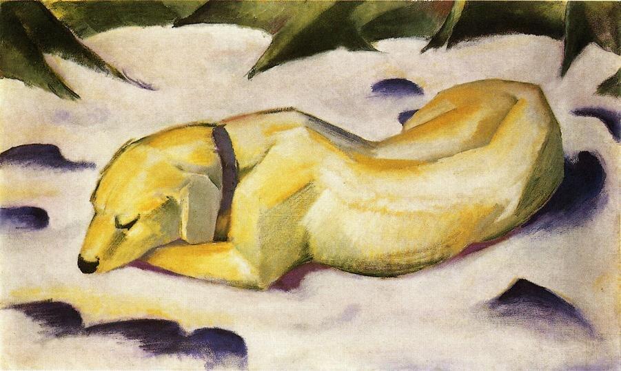 Haute qualité peinture à l'huile toile Reproductions chien couché dans la neige 1911 par Franz Marc peint à la main