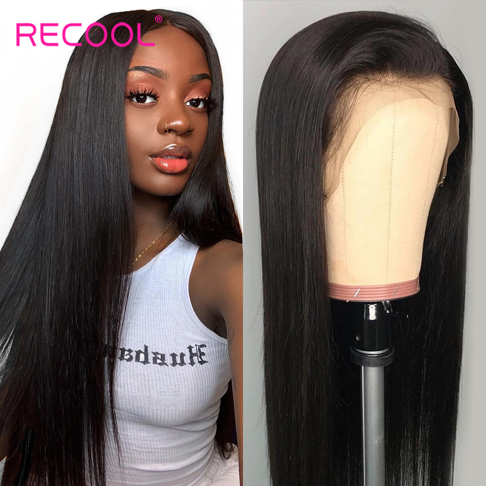 Recool Straight Lace Front Human Hair Wigs Pre Plucked Glueless Full End Lace Wig 180 250