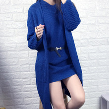 Hot Sale 2016 Fashion Women Autumn Winter Sweater Coat And Dress 2 Piece Sets Brand Ladies