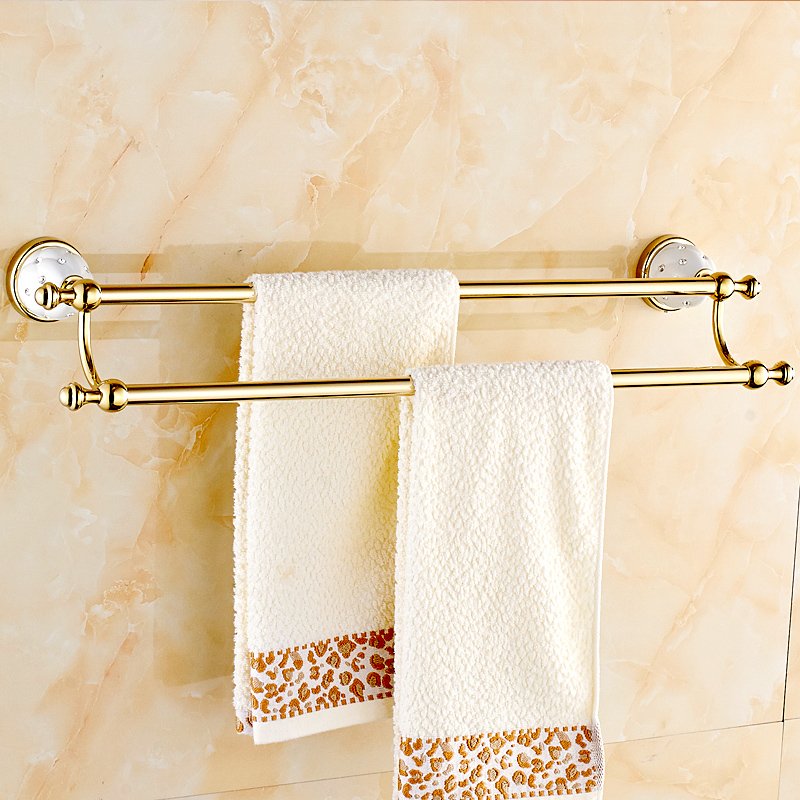 Bathroom Gold Towel Rack Antique Towel Bar Copper Double Towel Rack European Diamond Towel Holder Bathroom Accessories european copper gold towel rack toilet towel bar bathroom antique rotary towel bar antique activities towel 3 bar f91381