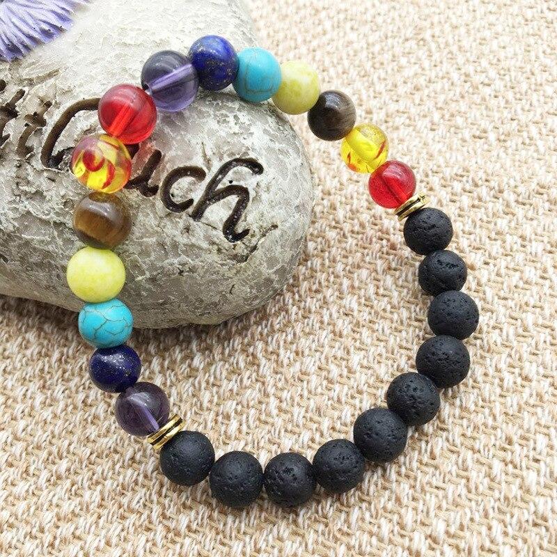 Vintage 8mm Rainbow Chakras Black Lava Stone Beads Bracelets DIY Aromatherapy Essential Oil Perfume Diffuser Pulsera Bracelet
