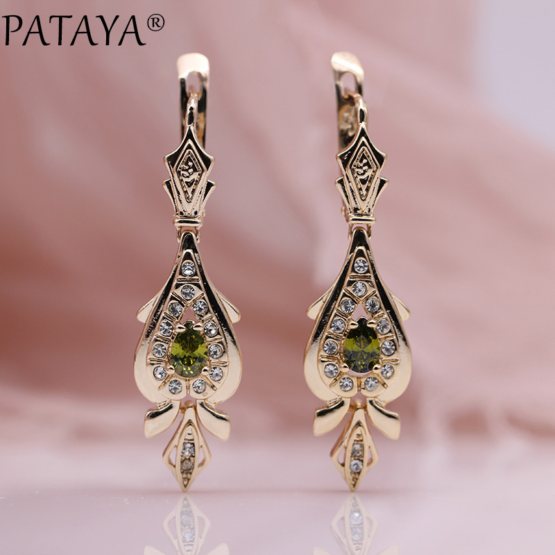 PATAYA Love 585 Rose Gold Long Earrings Water Drop Design Olive Green Natural Zircon Earring Women Fine Jewelry Dangle Earring