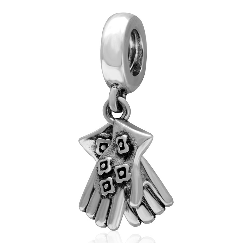 New Gloves beads, 925 sterling Silver charm Pendant diy Fit for Pandora Charms Bracelets wholesale