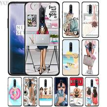 Classy Paris Girls Travel Relax Phone Case for Oneplus 7 7Pro 6 6T Oneplus 7 Pro 6T Black Silicone Soft Case Cover