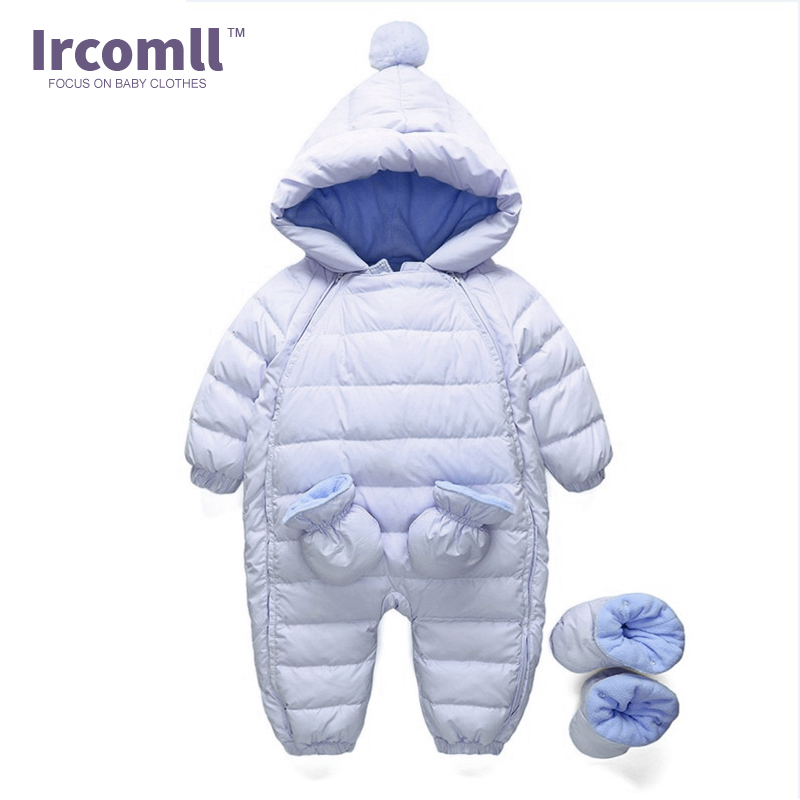 dc17e0b86c74 2017 Baby Winter Clothing Warm Hooded 90% Duck Down Baby Romper ...