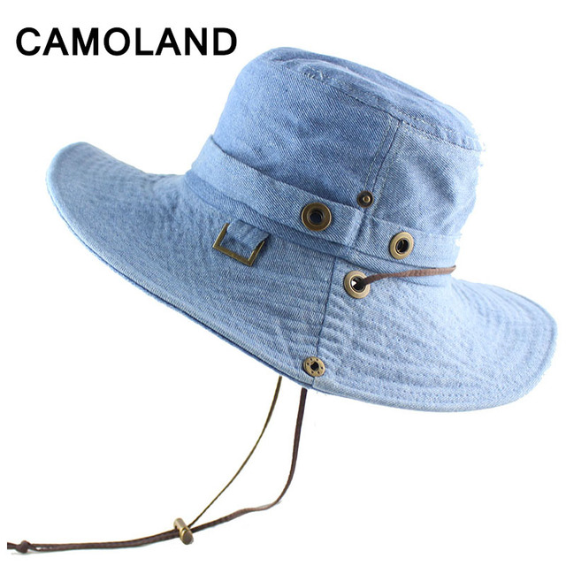 100% Cotton Summer Wide Brim Bucket Hat Denim Beach Hats Sun Hat Women  Men s Outdoors Foldable UV Protection Fishing Caps Washed 03f49995fef